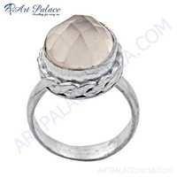 Romantic Rose Quartz Gemstone German Silver Ring