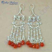 Various Styles Carnelian & Rainbow Moonstone Silver Earrings, 925 Sterling Silver Beaded Jewelry
