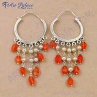 Fashionable Carnelian & Pearl Gemstone Silver Bali Beaded Earrings, 925 Sterling Silver Jewelry