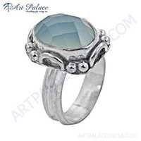 Inspired Blue Chalcedony Gemstone German Silver Ring