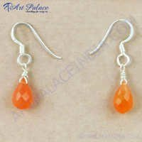 Cute Carnelian Gemstone Silver Earrings, 925 Sterling Silver Beaded Jewelry