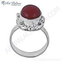 Hot !! Carnelian Gemstone German Silver Designer Ring