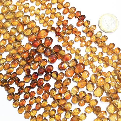 14 Inches 6-7mm Natural Shaded Citrine Smooth Polished Pear Drops Beads