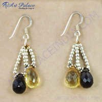 Hot! Dazzling Citrine & Smokey Quartz  Gemstone Silver Earrings, 925 Sterling Silver Beaded Jewelry