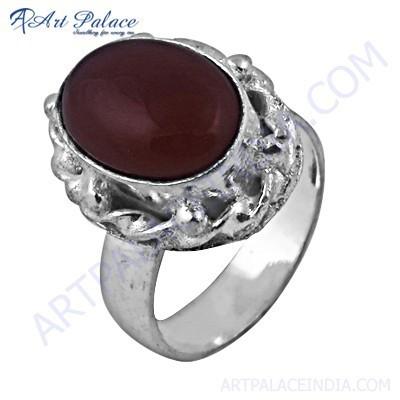 Feminine Unique Design Red Onyx Gemstone German Silver Rings