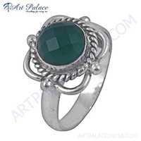 Luxury Style Green Onyx Gemstone German Silver Rings