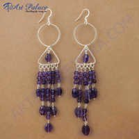 Various Styles AmethystGemstone Silver Earrings, 925 Sterling Silver Jewelry