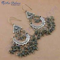 Traditional Designer Labradorite Gemstone Silver Earrings, 925 Sterling Silver Jewelry