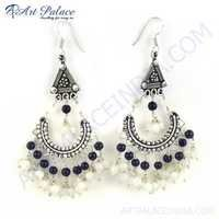 Ethnic Designer Black Onyx & Rainbow Moonstone Silver Earrings, 925 Sterling SIlver Earrings