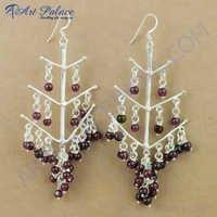 Party Wear Designer Garnet Gemstone Silver Earrings, 925 Sterling Silver Jewelry