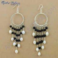 Indian Black Onyx & Pearl Silver Earrings, 925 Sterling Silver Jewelry