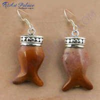 Fish Style Agate Gemstone Silver Earrings, 925 Sterling Silver Jewelry