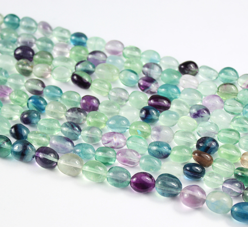 11-12mm - 14 Inches - Natural Multi Fluorite Smooth Polished Tumble Beads Strand