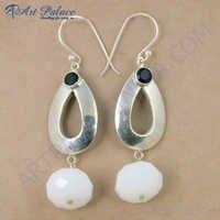 Latest Antique Style Black onyx & White Onyx Gemstone Silver Earrings, 925 Sterling Silver Jewelry