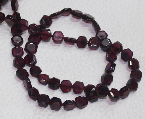 14 Inches - 5MM - Natural Rhodolite Garnet Faceted Hexagon Fancy Shape Briolette Beads
