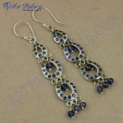 Party Wear Designer Iolite Gemstone Silver Earrings, 925 Sterling Silver Beaded Jewelry