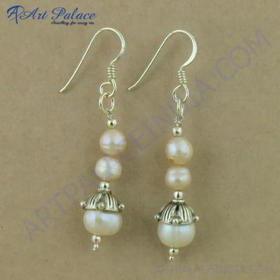 Truly Designer Pearl Gemstone Silver Earrings, 925 Sterling Silver Jewelry
