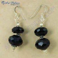 New Arrival Black Onyx Gemstone Silver Earrings, 925 Sterling Silver Jewelry