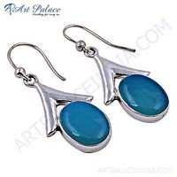Celeb Style Blue Chalcedony Gemstone Sterling Silver Earrings