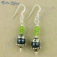 Delicate Black Pearl & Peridot  Gemstone Silver Earrings, 925 Sterling Silver Jewelry