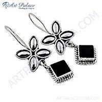 Precious Antique Style Black Onyx Gemstone Silver Earrings