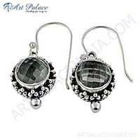 Indian Deisgner Gemstone Silver Earrings With Crystal
