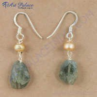 Antique Style Labradorite & Pink Pearl Gemstone Silver Earrings, 925 Sterling Silver Jewelry