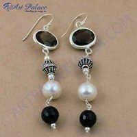 Party Wear Multi Gemstone Silver Earrings, 925 Sterling Silver Jewelry