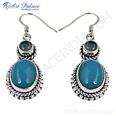 Traditional Designer Blue Chalcedony Gemstone Silver Earrings