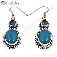 Traditional Designer Blue Chalcedony Gemstone Silver Earrings