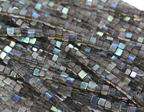 14 Inches 4mm Blue Flash Labradorite Smooth 3D Cube Square Box Beads