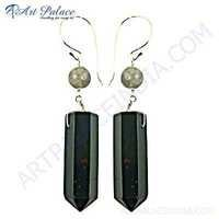 Latest Fashion Green Onyx & Rainbow Moonstone Silver Earrings