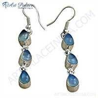 Exclusive Blue Chalcedony Gemstone Silver Earrings