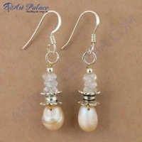 Gracious Fashionable Crystal & Pearl Silver Earrings, 925 Sterling Silver Jewelry