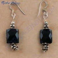 Midnight Black Onyx Gemstone Silver Earrings, 925 Sterling Silver Jewelry