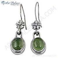 Trendy Prenite Gemstone Silver Earrings