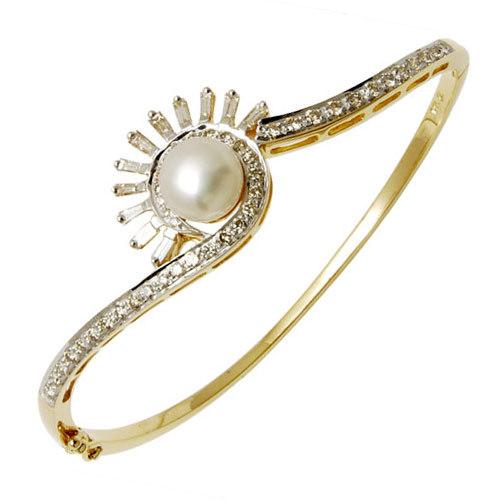 Sun Design With Pearl And Diamond Half Bangle