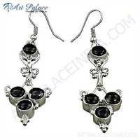 Designer Smokey Quartz Gemstone Silver Earrings
