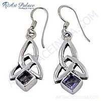 Classic Amethyst Gemstone Fret Work Silver Earrings
