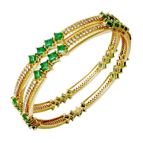 Princess Cut Green Emerald Diamond Bangle