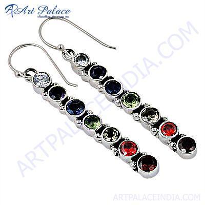 Costume Jewelry, Multistone Silver Earrings