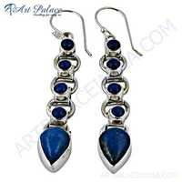 Girls Fashionable Lapis Gemstone Silver Earrings