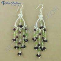 Indian Touch Garnet & Peridot Gemstone Silver Earrings, 925 Sterling Silver Jewelry