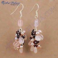 Costume Multi Stone Gemstone Silver Earrings, 925 Sterling Silver Jewelry