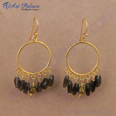Indian Smokey Quartz Gemstone Gold Plated Silver Earrings, 925 Sterling Silver Beaded Jewelry