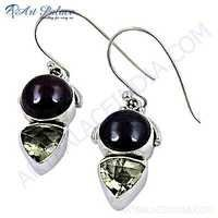 lLastest Luxury Black Onyx & Lemon Quartz Gemstone Silver Earrings