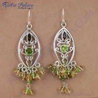 Unique Style Multi Gemstone Silver Earrings, 925 Sterling Silver Jewelry