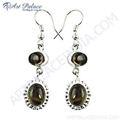 Traditional Designer Smokey Quartz Gemstone Silver Earrings