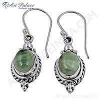 Victorian Designer Prenite Gemstone Silver Earrings