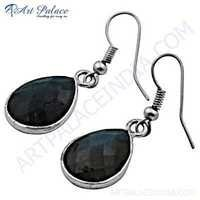 Trendy Gemstone Silver Earrings With Labradorite